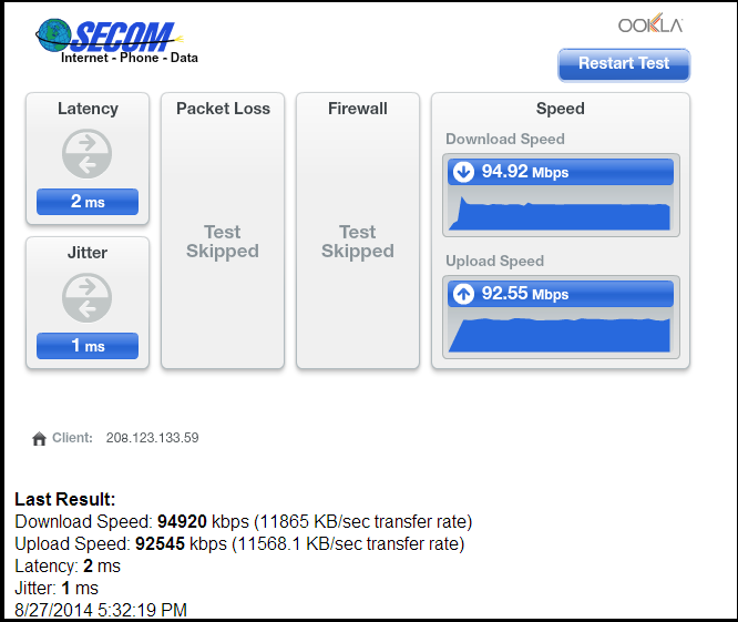 Testing your bandwidth (speed) on Speed Test websites – Secom